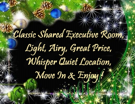 Classic Shared Executive Room, Light, Airy, Great Price, Whisper Quiet Location, Move In & Enjoy !